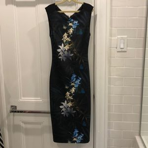 Ted Baker dark floral midi dress